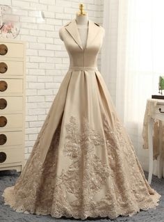 Silhouette:a-line Hemline:floor length Neckline:v-neck Fabric:satin Sleeve Style:sleeveless Color:champagne Back Style:zipper up Embellishment:appliques,sequins