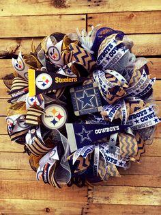House Divided Wreath, Football Divided Wreath, Steelers Wreath, Cowboys Wreath…