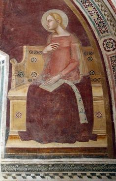 Maestro di Barberino - Madonna Annunciata - affresco - 1348-1387 - Oratorio di Santa Caterina delle Ruote - Bagno a Ripoli (Firenze)