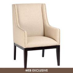 Cream Linen Sargon Arm Chair #kirklands #glam+chic