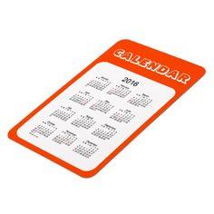 2016 Orange Red Calendar by Janz 4x6 Magnet