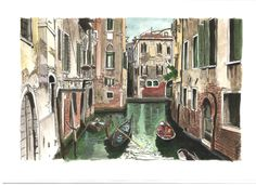 Cena num canal em Veneza // Scene on a canal in Venice - Aguarela // Watercolour