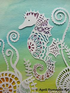 COMMERCIAL Mr Seahorse Digital DIY Papercutting by AprilSummersArt