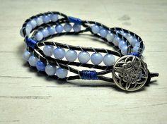 Double Leather Wrap Bracelet Blue Skies by BeadWorkBySmileyKit