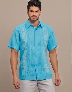 Bright Color Guayabera Shirt. SHORT Sleeve. High quality Linen.