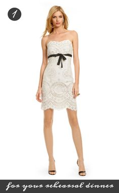 This delicate lace Anna Sui sheath is perfect for your rehearsal dinner! You can rent it for 70 dollars from Rent the Runway: http://www.renttherunway.com/shop/designers/annasui_dresses/ambrosialacedress