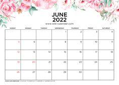 June 2022 Calendar Printable with Holidays