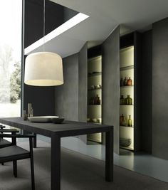 Design kitchens Blade are the most important collection of Modulnova; Modern Kitchen made to celebrate first twenty Years of the Company Larder Cupboard, Kitchen Cupboard Doors, Scandinavian Style, Countertops, Blade, Minimalism, Kitchen Design, Design Inspiration, Living Room
