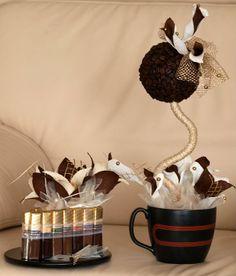 abalorio de granos cafe y base con chocolates