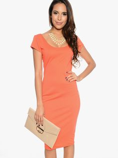 Elegant Orange Midi Dresses
