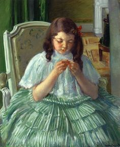 Françoise in Green, Sewing by Mary Cassatt
