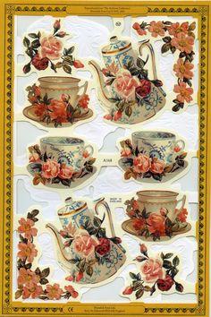 Tea SCRAP RELIEFS Tea Die Cuts English Tea Scrap by OneDayLongAgo