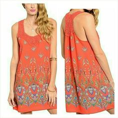"""Floral crochet tank shift dress Size Small. 5/6 Beautiful coral silky tank dress with a floral desig . Gorgeous cotton crochet detail. Made in the USA. 100% polyester, cotton crochet. Not sheer or see through. 31"""" long. Size Small, 5/6. Brand new with tag. Jill Marie Boutique Dresses Mini"""