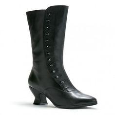 Tavistock Victorian Button Boots in black, $195