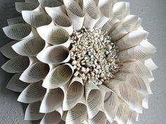 Paper flower Book Pages Wreath Upcycled Giant Paper by NodakMama