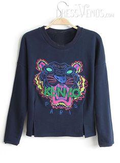 US$23.00 Smart Loose Round Neckline Long Sleeves Embroidery T-Shirt. #T-Shirts #Round #Sleeves #Smart