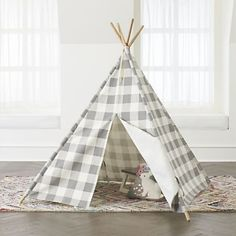 Our Grey Buffalo Check Teepee is topped with a classic plaid pattern that will be at home in almost any kids room or playroom. Teepee Play Tent, Teepee Kids, Bamboo Construction, Cool Gifts For Kids, Kids Fun, Kids Gifts, Floor Cushions, Custom Furniture, Kids Furniture