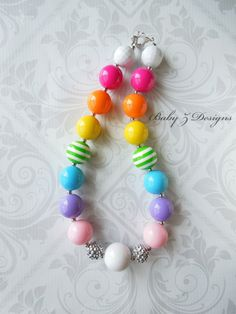 Rainbow Gumball Chunky Necklace  For Toddlers by babyzdesigns, $18.00