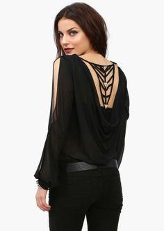 pretty backed shirt, black shirt, slinky, dressy, holiday party shirt