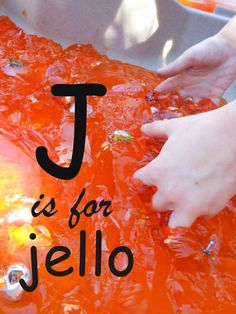 Letter J fun! Get a little messy with a Jello Sensory Bin. Letter J Activities, Pre K Activities, Preschool Letters, Preschool Curriculum, Preschool Science, Learning Letters, Preschool Ideas, Preschool Crafts, Homeschooling