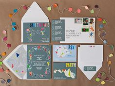 Cute and colorful invites.