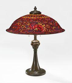 "Tiffany Studios A RARE ""SALAMANDER"" TABLE LAMP shade impressed TIFFANY STUDIOS NEW YORK base impressed TIFFANY STUDIOS/NEW YORK/573 leaded glass and patinated bronze"