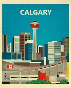 Calgary Skyline Print, Canada Travel Poster,  Calgary map print, Calgary Vertical Wall Art - for Home, Office, and Nursery - style E8-O-CAL