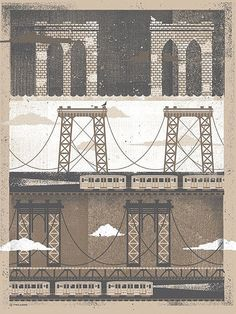NYC Bridges Art Print Silkscreen Artprint 18 x 24 por twoarms