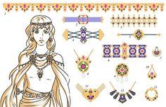 Planche de bijoux sur le thème du personnage de Dalindra, de mon roman La légende de Dalindra #jewelry #old #roman #pendant