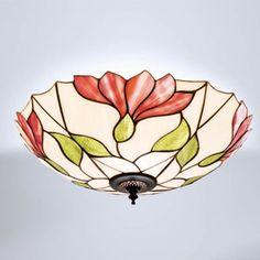 Interiors 1900 FL1/TS07FL Botanica Tiffany Ceiling Light