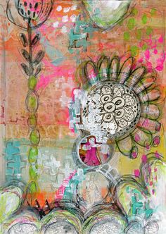 "Art Journal Page by Roben-Marie Smith; years ago I received my first Gelli Art® Gel Printing Plate and remember thinking, ""What do I do with this?"" Now, it is more like, ""What can't I do with this?"" When it comes to art supplies this tool has become indispensable to me. I use it for so many things, including creating quick backgrounds on things like paper, tags, envelopes and fabric. For my page this week, I used the Gelli® plate to create a background on a piece of newsprint paper and then…"
