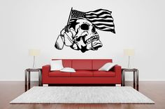 Wall Vinyl Sticker Decals Mural Room Design Pattern Art Army Scull American Flag bo1967 by RoomDecalsAndDesigns on Etsy
