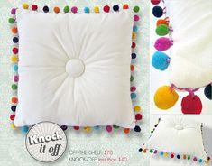Tutorial: Tufted pillow with rainbow pom pom trim