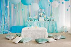 "I like the ""bubbles"" in the air and low eating table! Mermaid Party"