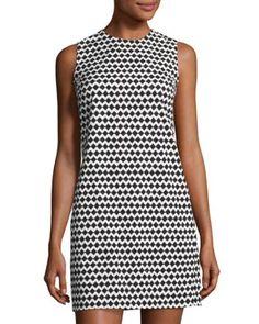 Adraya Pitch Chevron Shift Dress, Black/White
