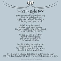 Here's To Right Now ~ Wedding Poem by English poet Ms Moem @MsMoem