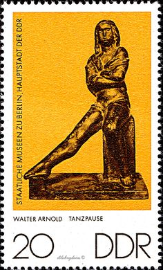 German Democratic Republic.  SMALL SCULPTOR.  DANCER AT REST BY WALTER ARNOLD. Scott 1736 A532, Issued 1976 June 22,  Photo., Perf. 14. 20.  /ldb.