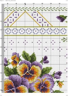 Cross Stitch Borders, Cross Stitching, Cross Stitch Embroidery, Embroidery Patterns, Cross Stitch Patterns, Knitting Patterns, Pixel Crochet Blanket, Flower Frame, Pansies