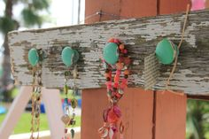 Shabby Chic Upcycled Barnwood Jewelry Hanger ... love the aqua contrast with the old barn wood