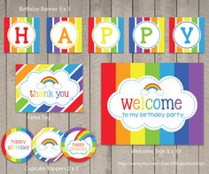 Rainbow Birthday Package Pack Decoration Party Printable INSTANT DOWNLOAD
