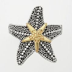 14k Gold Over Silver and Sterling Silver Textured Starfish Ring