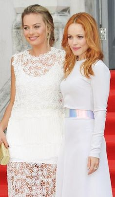 Margot Robbie and Rachel McAdams on the red carpet for the premiere of their new movie 'About Time'