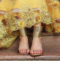 (c) Aprajita toor label Lace Bridal Shoes, Unique Wedding Shoes, Bridal Sandals, Lace Up Sandals, Bride Shoes, Trendy Sandals, Indian Look, Gorgeous Feet, Designer Heels