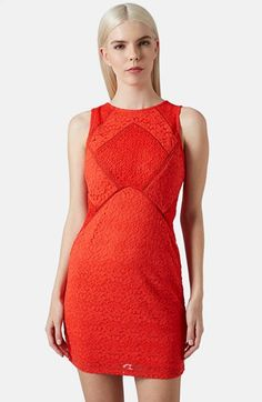 Topshop Mixed Lace Body-Con Dress available at #Nordstrom