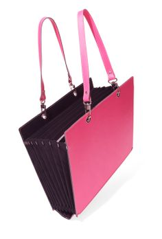 This chic pink file, handmade from fine Italian leather, has both beauty and brains: It expands to reveal nine pockets roomy enough to hold folders and documents, making it your office on the go.