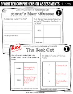 Written Comprehension Assessments written in the same style as mCLASS written comprehension assessments, just using titles from the F&P BAS Kit 1.
