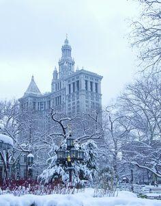 NYC. Manhattan. Snow around the Municipal Building