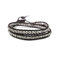 Clear Crystals Wrap Bracelet on Brown Leather 2 R ($17.99)