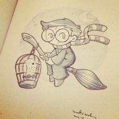Quick Harry in my sketchbook #sketch #harrypotter by katie cook
