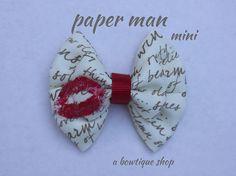 paper man mini hair bow on Etsy, $3.50